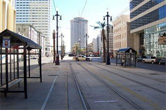 Canal Street, New Orleans - Canal Street, looking toward the river, December 2005, a veritable ghost town.