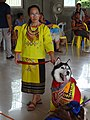 Caraga women with the Siberian Husky dog (Original Work).jpg