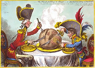 "Editorial cartoon - James Gillray's The Plumb-pudding in Danger (1805). The world being carved up into spheres of influence between Pitt and Napoleon. According to Martin Rowson, it is ""probably the most famous political cartoon of all time—it has been stolen over and over and over again by cartoonists ever since."""