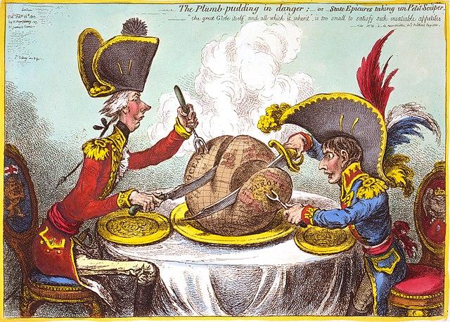 «Пудинг в опасности». Премьер-министр Питт (Англия) и Наполеон (Франция) делят мир. Карикатура Джеймса Гилрея.