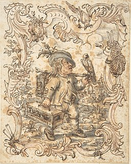 Caricatures of a Fish and a Bird Peddler in Ornamental Frames MET DP803862