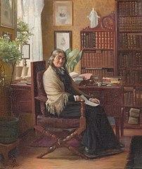 Frk. Daugård i sit hjem i Ribe