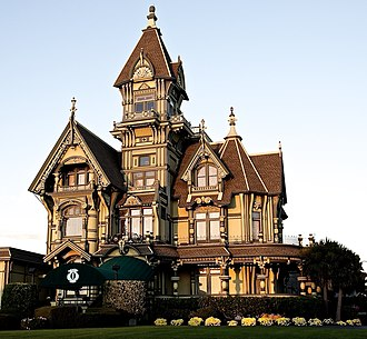 National Register of Historic Places architectural style categories - Late Victorian Carson Mansion in Eureka, California.