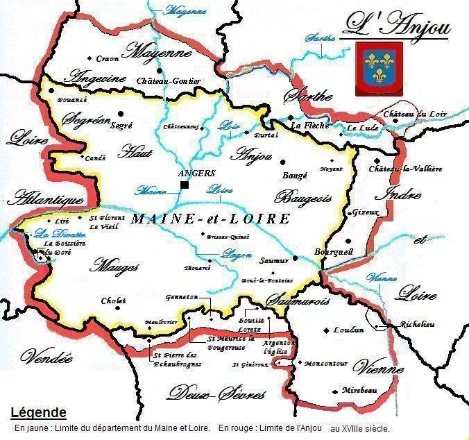 Carte de l'ancienne province d'Anjou