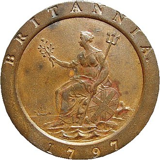 """History of the British penny (1714–1901) - Boulton-produced 1797 """"cartwheel"""" (twopence shown)"""