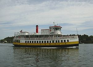 "Great Diamond Island - A Casco Bay Lines ferry sailing ""down the bay"" after stopping at Diamond Cove."