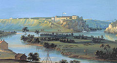 A panoramic painting showing a river with a small island at in the middle. There some small buildings on the riverbanks and in the distance, on a hilltop overlooking the river, is a picturesque fortress with white walls and a flag flying over it.