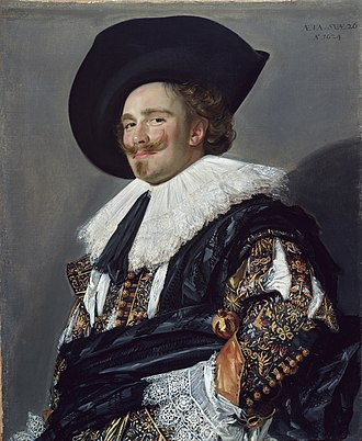1600–50 in Western European fashion - Frans Hals' Laughing Cavalier (in the Wallace Collection) wears a slashed doublet, wide reticella lace collar and cuffs, and a broadbrimmed hat, 1624