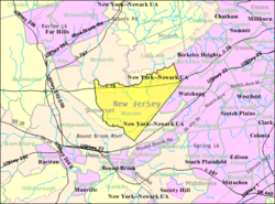 Census Bureau map of Warren Township, New Jersey