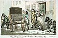 Chaise at the door, setting out from Rowlandson's House in Wardour Street (caricature) RMG PW4929.jpg