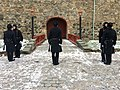 Changing of the guard (HMKG, Royal Guards) at Akershus fortress, Oslo, Norway. Winter uniforms. 2017-11-30 d.jpg