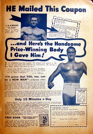 English: Advertisement for Charles Atlas'