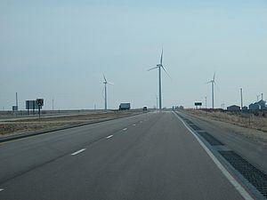 U.S. Route 18 in Iowa - US 18 / US 218 / Iowa 27 pass a wind farm near Charles City