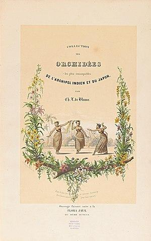 Carl Ludwig Blume - Title page of Collection des Orchidées les plus remarquables de l'archipel Indien et du Japon