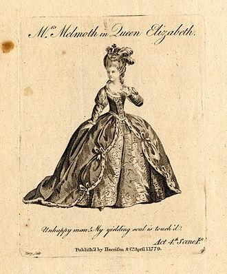 "Henry Jones (poet) - Charlotte Melmoth as Queen Elizabeth in Jones' ""The Earl of Essex"" 1779."