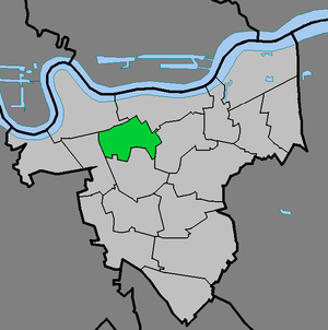 Charlton, London - The ward of Charlton (green) within Royal Borough of Greenwich (light grey)