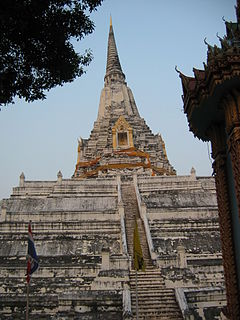 Chedi Phukhao Thong Buddhist tower in Thailand