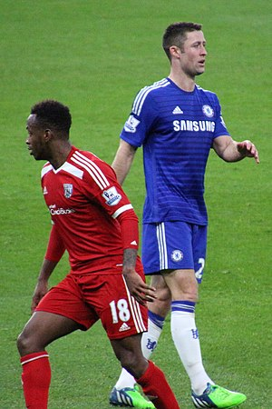 Saido Berahino - Berahino (left) playing against Gary Cahill of Chelsea in November 2014