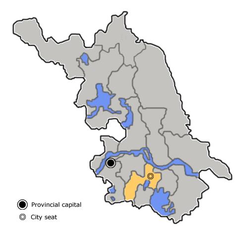 Location of Changzhou City jurisdiction in Jiangsu