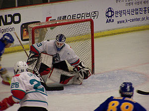 """Butterfly style - Wade Flaherty in 2008, using the V-H move (""""split butterfly"""") to react to a scoring opportunity close to the net"""