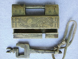 Lock and key - Chinese lock and key from Yunnan Province, early 20th century
