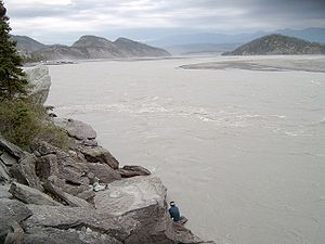 Dipnet fisherman on Copper River at Chitina.