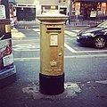 Chris Hoy's gold postbox in Hanover Street, Edinburgh.jpg
