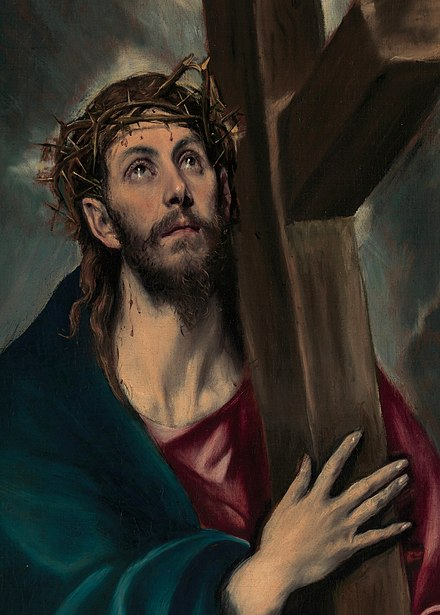 Christ Carrying the Cross, 1580, by El Greco, whose art reflects both his roots in Greek Orthodox traditions and the Catholic Counter-Reformation Christ Carrying the Cross 1580.jpg