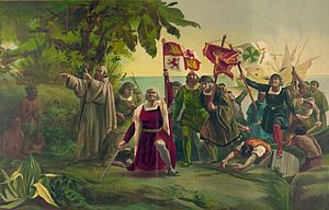 "Flag of Castile and León - Christopher Columbus bearing the flag of the Crown of Castile when reaching the ""New World"""