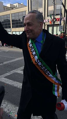 Schumer at the Binghamton St. Patrick's Day Parade on March 5, 2016