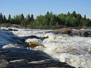 Quebec - Michel's falls on Ashuapmushuan River in Saint-Félicien, Saguenay–Lac-Saint-Jean