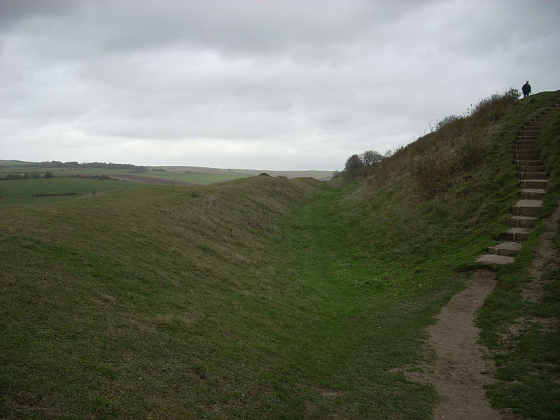Rampart of Cissbury Ring, an Iron Age hillfort in West Sussex.
