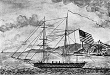sailing ship with US flag