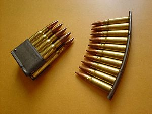 Clip (firearms) - An M1 Garand en-bloc clip (left) compared to an SKS stripper clip (right)