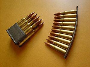 Clip (firearms) - An M1 Garand en-bloc clip (left) compared to an SKS stripper clip (right)