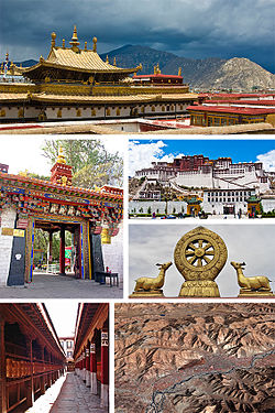 From upper left: Roof of the Jokhang Temple; Norbulingka monastery main gate; Potala Palace; Wheel of Dharma and prayer wheels (bottom), Jokhang; satellite picture of Lhasa.