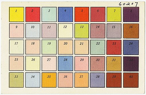 Color Chart Tichnor Bros. Inc., Boston, Mass
