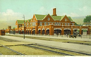 Atchison, Topeka and Santa Fe Passenger Depot (Colorado Springs, Colorado) - Santa Fe Depot and Eating House, Colorado Springs, Colorado, circa 1917.