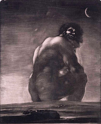 The Colossus (painting) - Image: Coloso de Goya (estampa) cropped