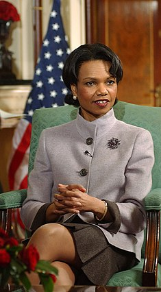 Condoleezza Rice during a 2005 interview on ITV in London
