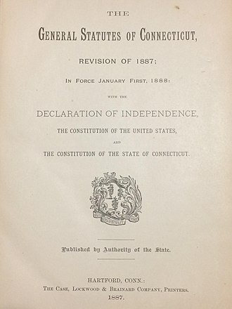 Connecticut General Statutes - Title folio from the Connecticut General Statutes, Revision of 1887 (in force 1888).