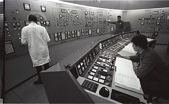 Lucens reactor - Control room of the Lucens reactor in April 1968