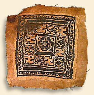 Coptic art - Tunic ornament, wool, tapestry weave, 10th century. California Academy of Sciences collections.