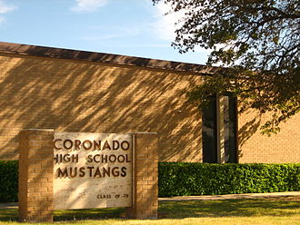Coronado High School (Lubbock, Texas) - Coronado High School at the intersection of Vicksburg Avenue and 34th Street in Lubbock