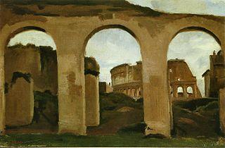 Le Colisée, vu à travers les arcades de la Basilique de Constantin