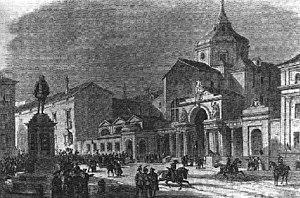 Grabado del Palacio de las Cortes en 1843