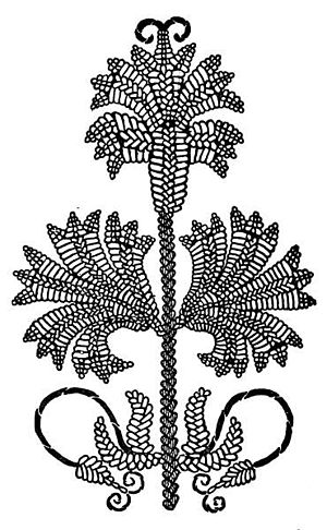 Featherstitch - Drawing of Cretan embroidery in closed Cretan stitch from Embroidery and Tapestry Weaving, 1912