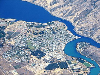 Cromwell, New Zealand - Aerial view of Cromwell from the south