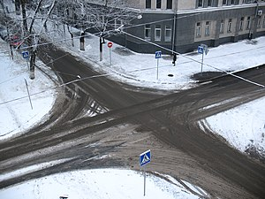 Intersection (road) - Crossroads in Kharkiv, Ukraine