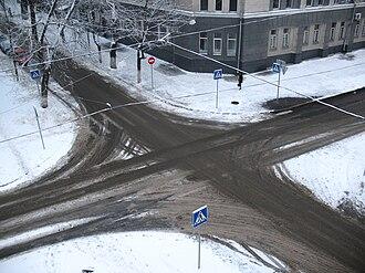 Intersection (road) - Crossroads in Kharkiv, Ukraine